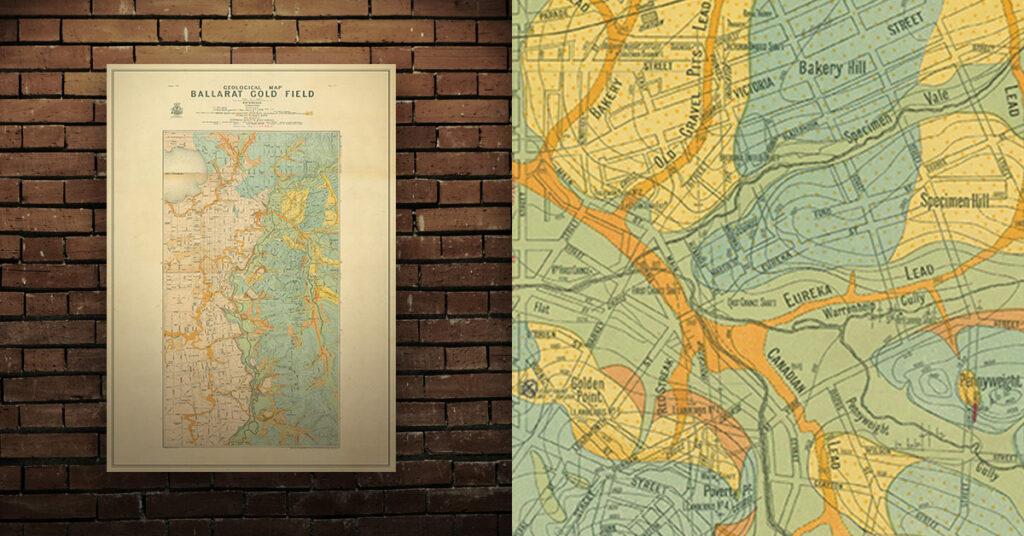 Historical gold map ballarat A1 poster print