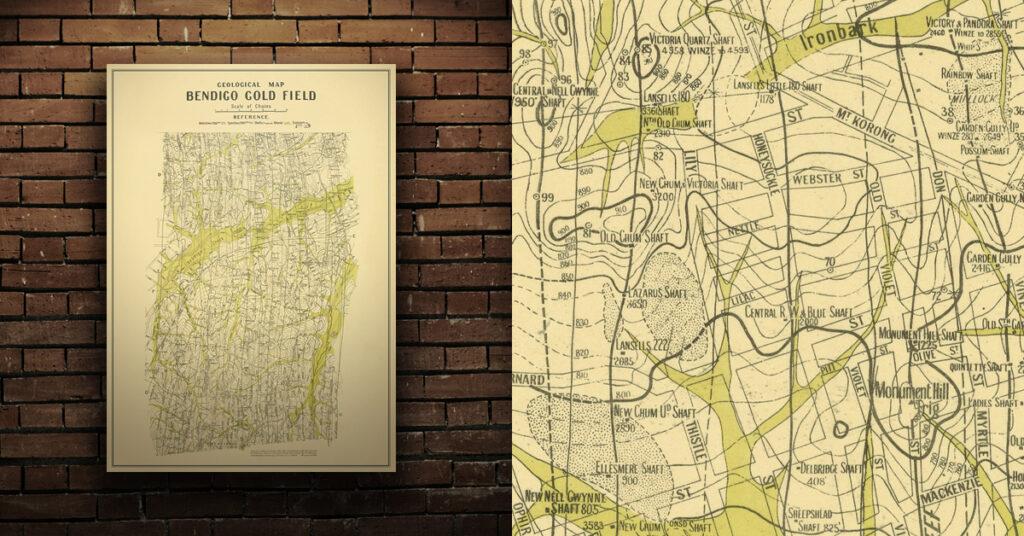 Bendigo historical gold map A1 print
