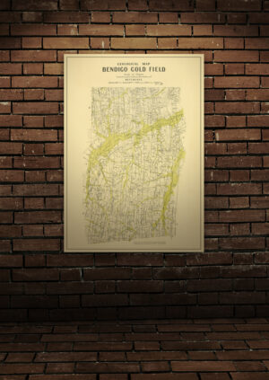 Bendigo goldfield map A1 Poster Print