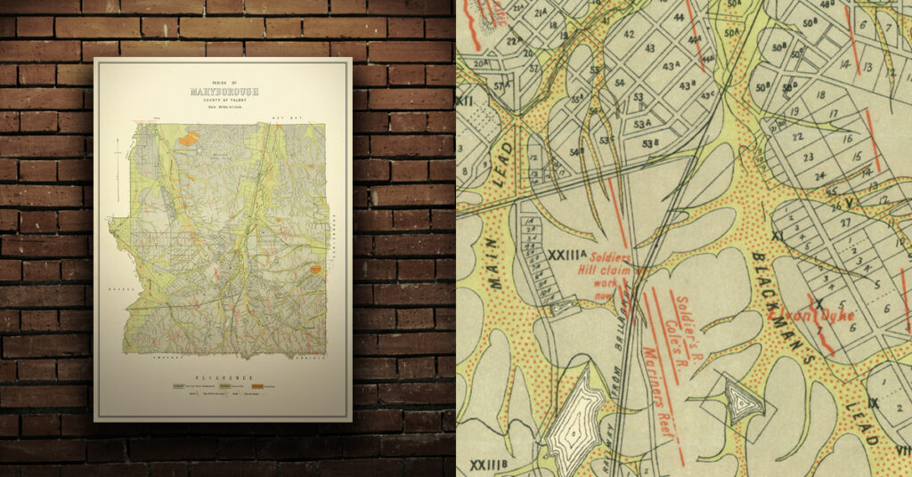 Historical gold map Maryborough A1 poster print